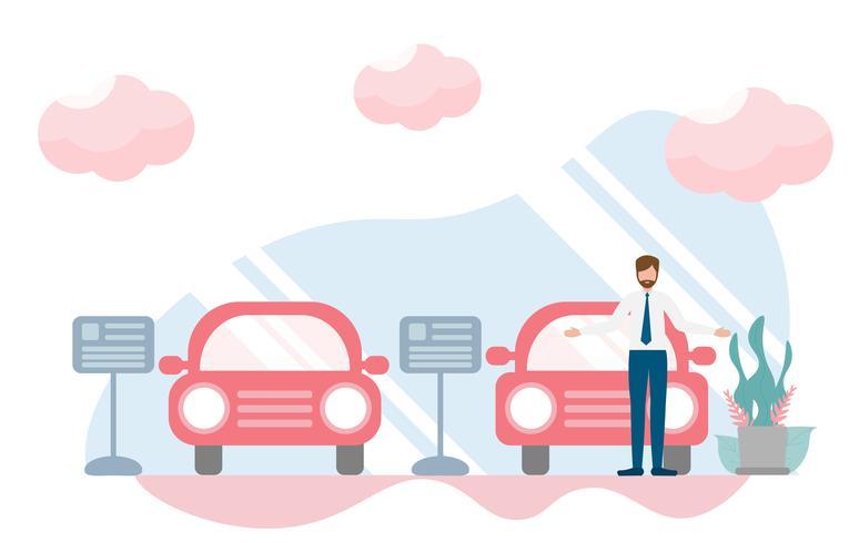 Rappresentante nello showroom dell'automobile, concetto del deposito di gestione commerciale della sala d'esposizione con carattere. Progettazione piana creativa per l'insegna di web vettore