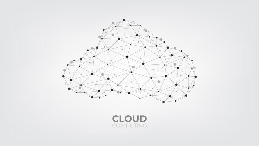 Punti e linee di collegamento astratti con tecnologia di calcolo della nuvola su fondo bianco e grigio. vettore