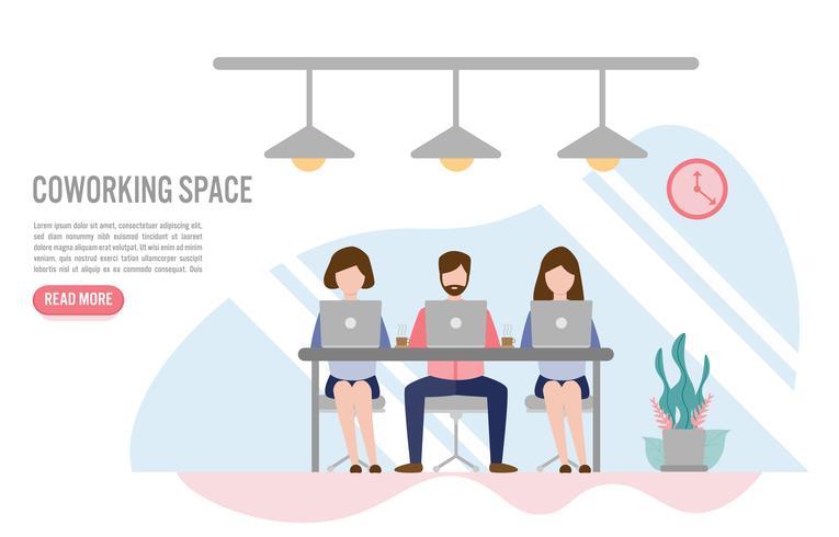Gente creativa che si siede al tavolo, concetto di spazio di Coworking con carattere. Design piatto creativo per banner web vettore