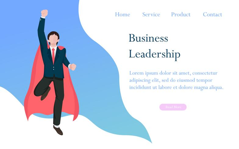 Leadership aziendale come concetto di eroe per il successo, la realizzazione e il manager vincente nella competizione aziendale. Caratteri di design piatto illustrazione vettoriale. vettore