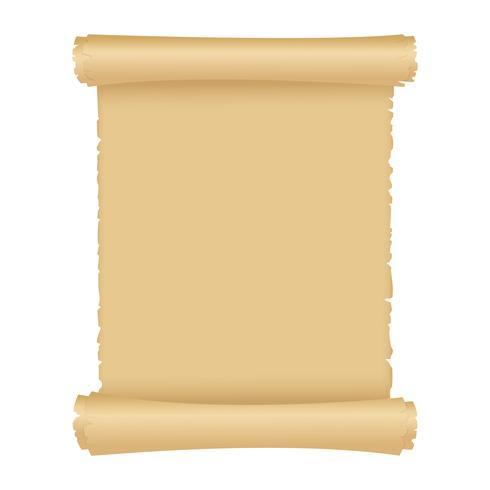 Stile di illustrazione vettoriale vintage di pergamena o vecchio rotolo di carta. Scorrimento magico antico con lo spazio della copia. Oggetto isolato su priorità bassa bianca.
