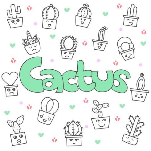Set di cactus carino doodle disegnato a mano vettore