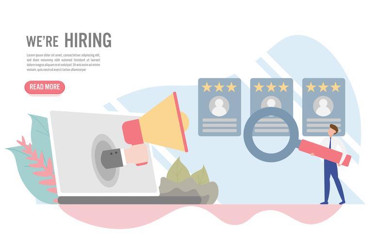 Concetto di assunzione e reclutamento con carattere. Design piatto creativo per banner web vettore