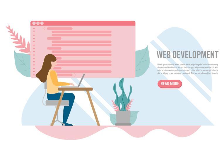 Sviluppo Web per il sito Web e il concetto di sito Web mobile con carattere. Design piatto creativo per banner web vettore
