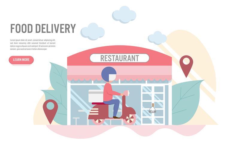 Concetto di consegna di cibo con carattere, un uomo con scooter di fronte al ristorante. Design piatto creativo per banner web vettore