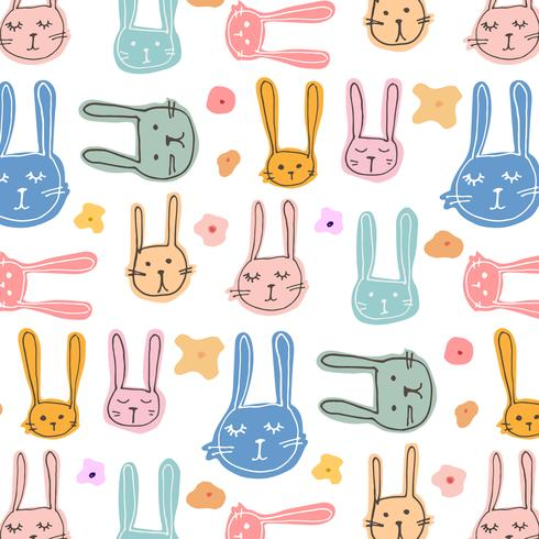 Carino Bunny Pattern Background. Illustrazione vettoriale