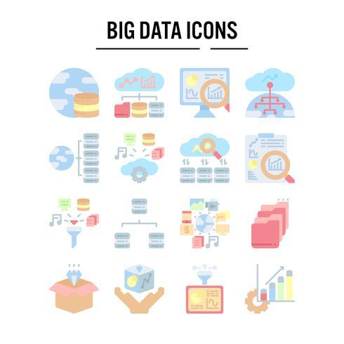 Icona di grandi quantità di dati in design piatto vettore