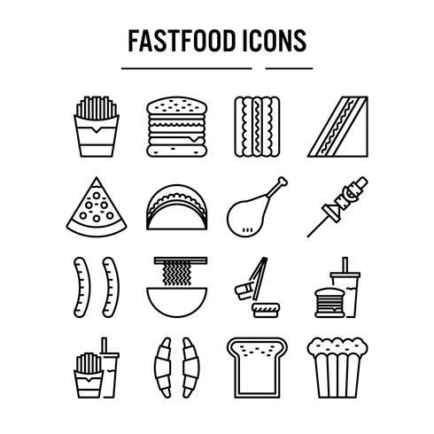 Icona di fast food nella progettazione del contorno vettore