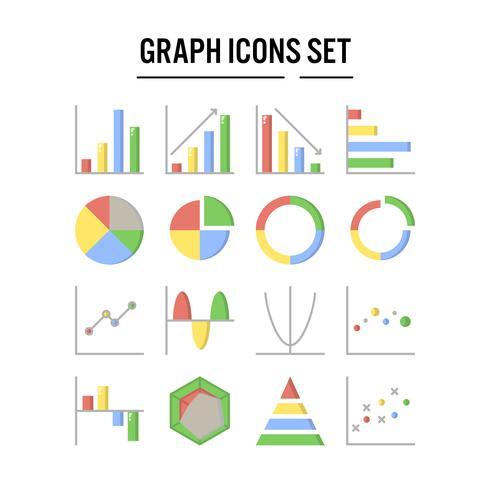 Icona grafico e diagramma in design piatto vettore