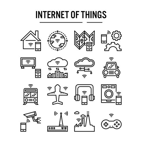 Internet of things icon in outline vettore