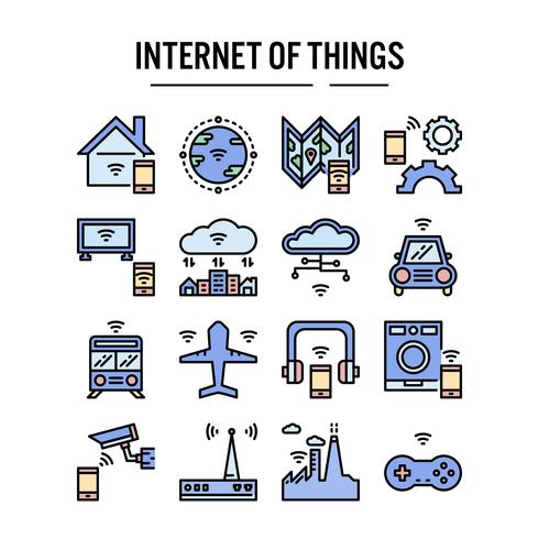 Internet of things icon in outline outline design vettore
