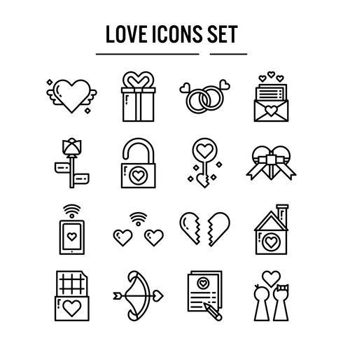 Icona di amore nella progettazione del contorno vettore