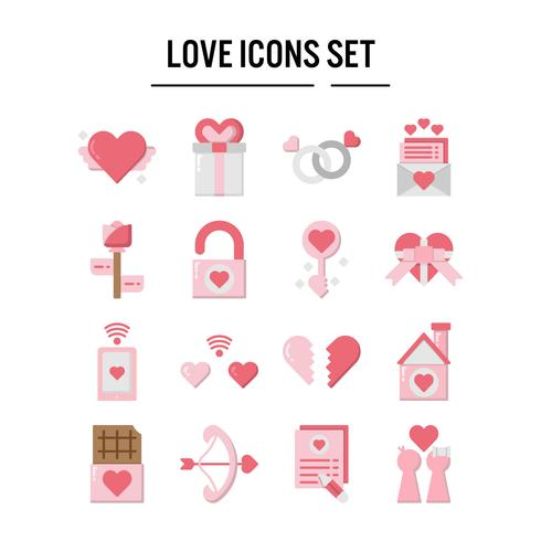 Icona di amore in design piatto vettore
