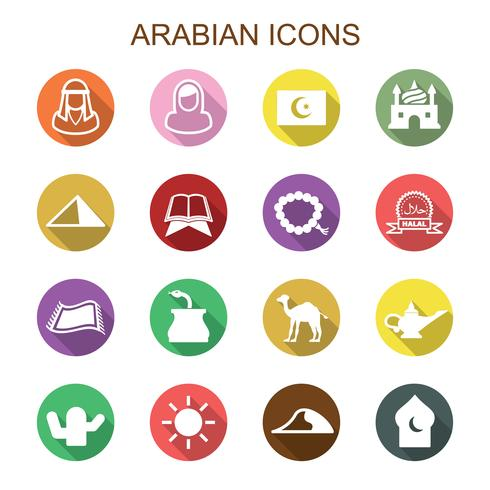 Icone arabe lunga ombra vettore