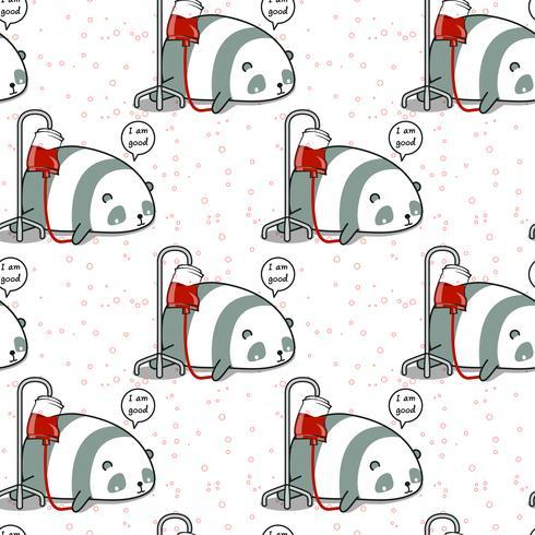 Il panda kawaii senza cuciture è un modello malato vettore