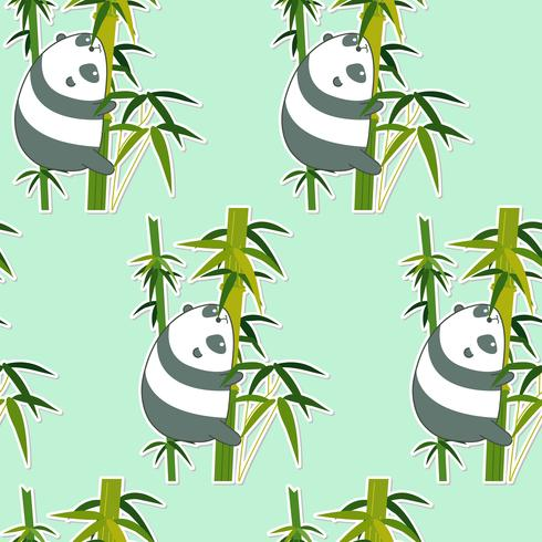 Panda senza soluzione di continuità sul modello di bambù. vettore