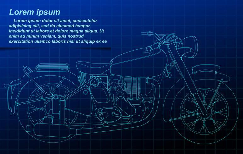 Profilo del veicolo sulla priorità bassa della cianografia. vettore