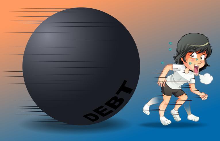 Fuga il concetto di debito in stile cartone animato. vettore