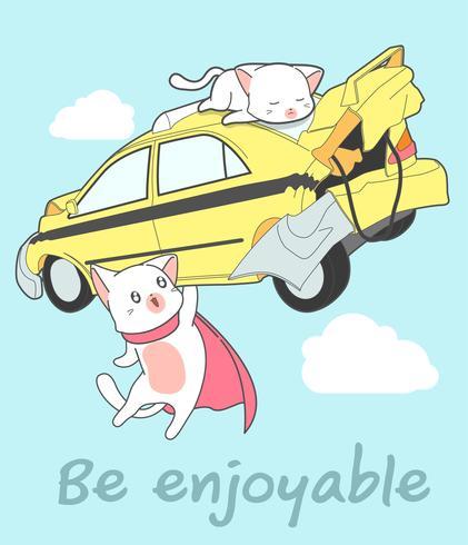 Il super gatto Kawaii sta sollevando la macchina in stile cartone animato. vettore