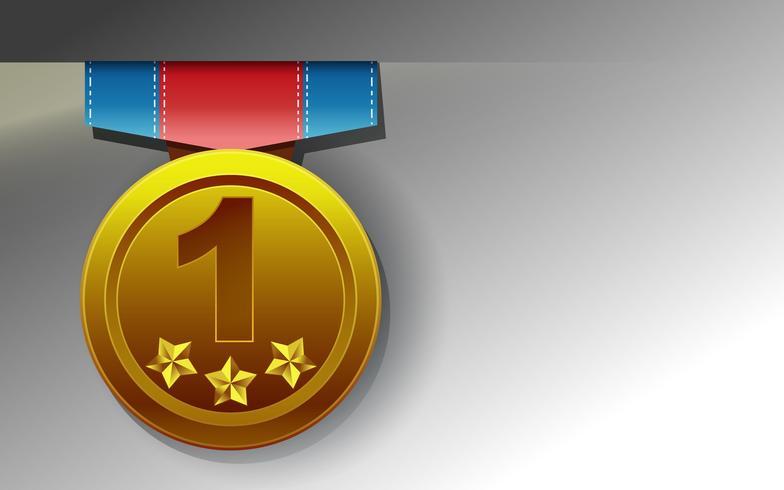 Medaglia d'oro su sfondo bianco in stile cartone animato. vettore