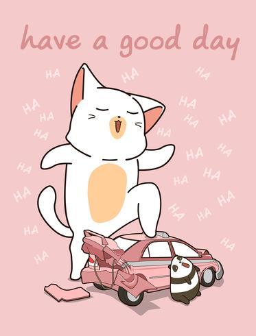 Gatto gigante kawaii con una macchina rotta vettore