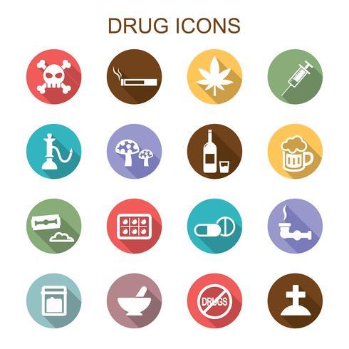 icone di droga lunga ombra vettore