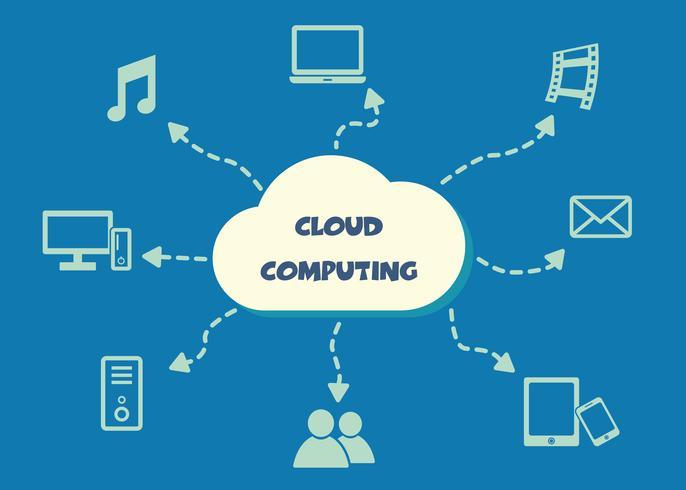 simbolo di cloud computing vettore