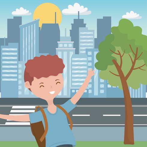 Disegno del fumetto del ragazzo dell'adolescente vettore