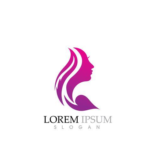 Le donne di bellezza affrontano il carattere di sagoma Logo vettore