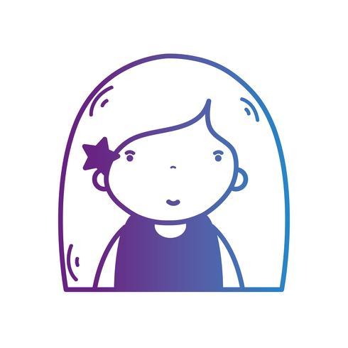 linea avatar girl con acconciatura e camicetta vettore