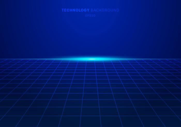 Il modello di griglia quadrato blu astratto di tecnologia digitale su fondo con luce esplode. vettore