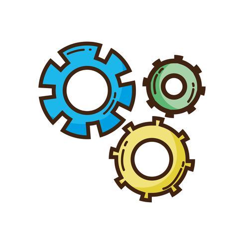 processo di ingegneria del settore ingranaggi a colori vettore