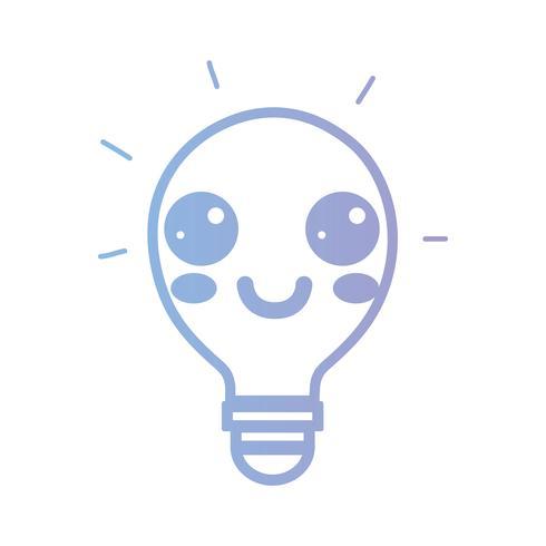 linea kawaii idea lampadina carina felice vettore