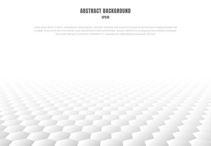 Esagoni bianchi astratti modellano il fondo e la struttura di prospettiva con lo spazio della copia. Stile di lusso vettore