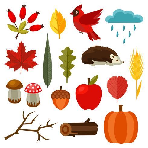 elemento di natura autunno impostato stile piano vettore