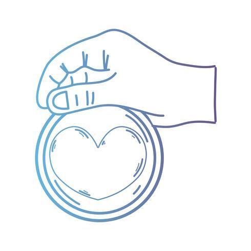 linea mano con cuore emblema ad amore e simbolo romantico vettore