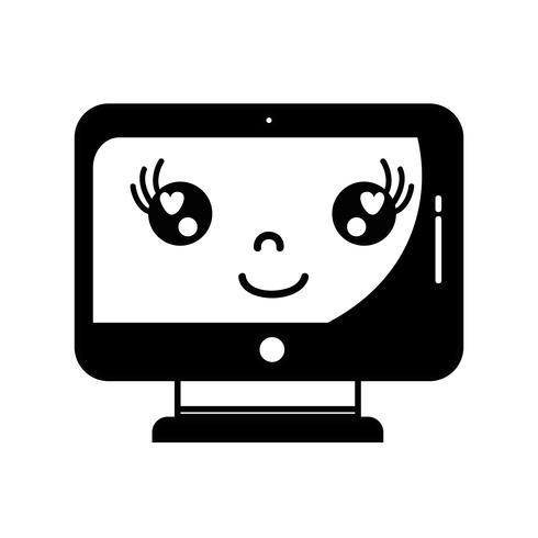 contorni kawaii cute happy screen monitor vettore