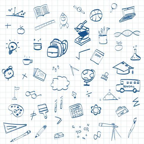 Di nuovo a scuola, fondo di concetto di istruzione con la linea icone e simboli di arte vettore