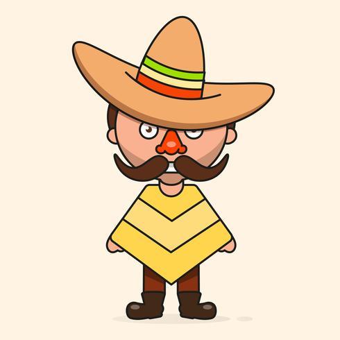 Uomo messicano del fumetto, pronto per il vostro disegno, cartolina d'auguri, insegna. Vettore