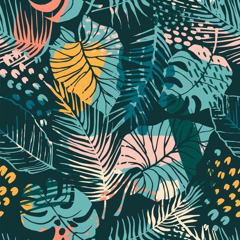 Modello senza cuciture creativo astratto con piante tropicali e sfondo artistico. vettore