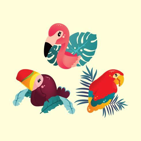 Simpatici uccelli tropicali vettore