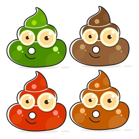 Set di Cartoon Brown Poop Variations. vettore