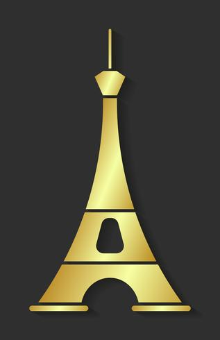 Torre Eiffel dorata. Elemento di design per mappe, banner, volantini, Parigi lettering isolato su sfondo scuro. vettore