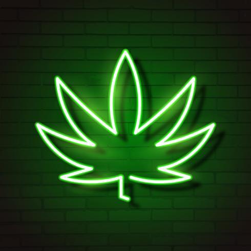 Insegna al neon d'ardore della foglia di logo della cannabis medica. vettore