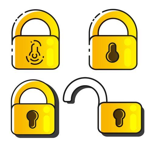 Lock Icons Set Vector. Blocca disegno vettoriale. Progettazione di segni. Stile piatto vettore
