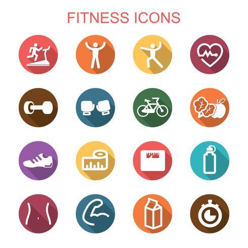 icone di fitness lunga ombra vettore