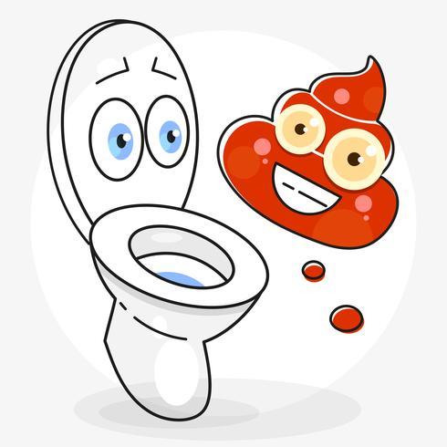 Illustrazione sporca del fumetto della toilette pronta per il vostro disegno, cartolina d'auguri vettore
