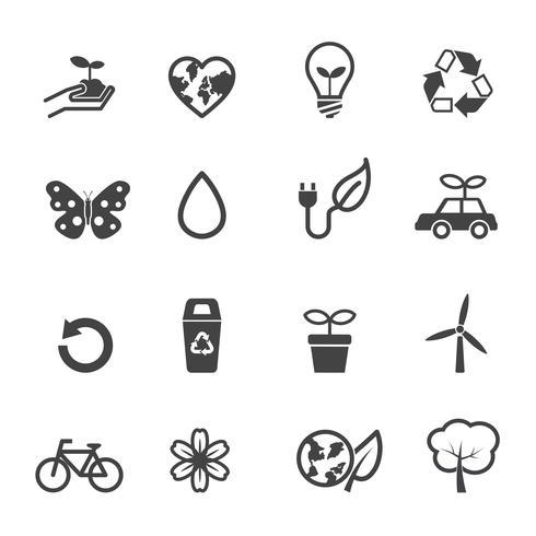 icone di ecologia e ambiente vettore