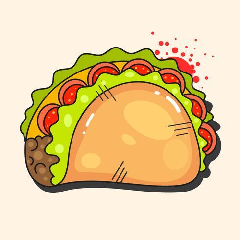 Retro icona messicana calda. Fast food. Sfondo vettoriale Ingredienti biologici. Taco messicano. Illustrazione vettoriale colorato.