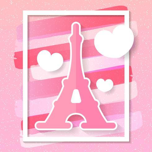 Orizzonte di vettore della città di Parigi nello stile di carta